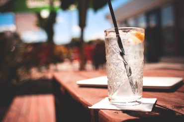 cold drink on patio